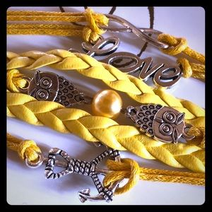 Yellow Leather Rope Silver love Charm Bracelet
